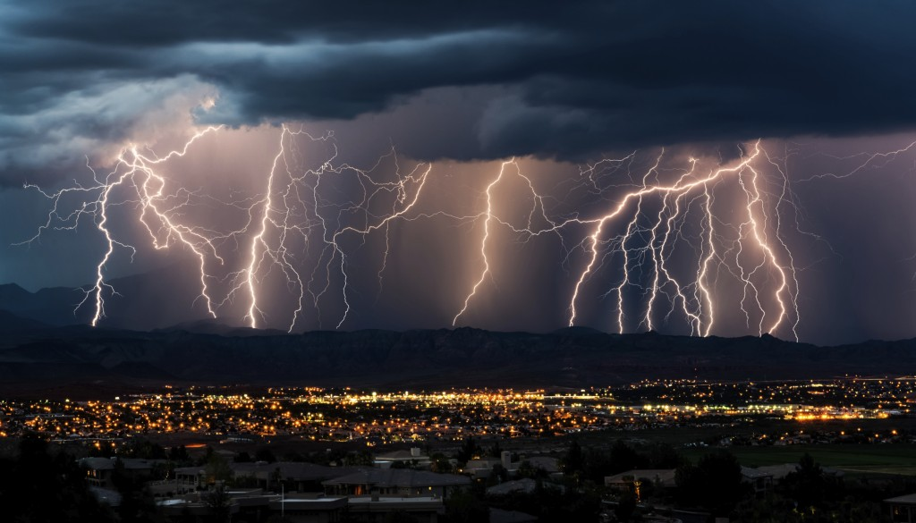 Curtain of Lightning Over City